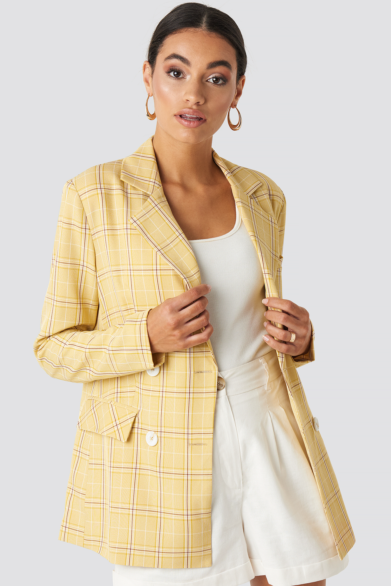 na-kd classic -  Plaid Double Breasted Blazer - Yellow