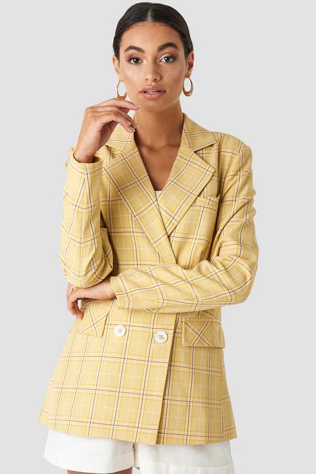 Plaid Double Breasted Blazer Yellow Check