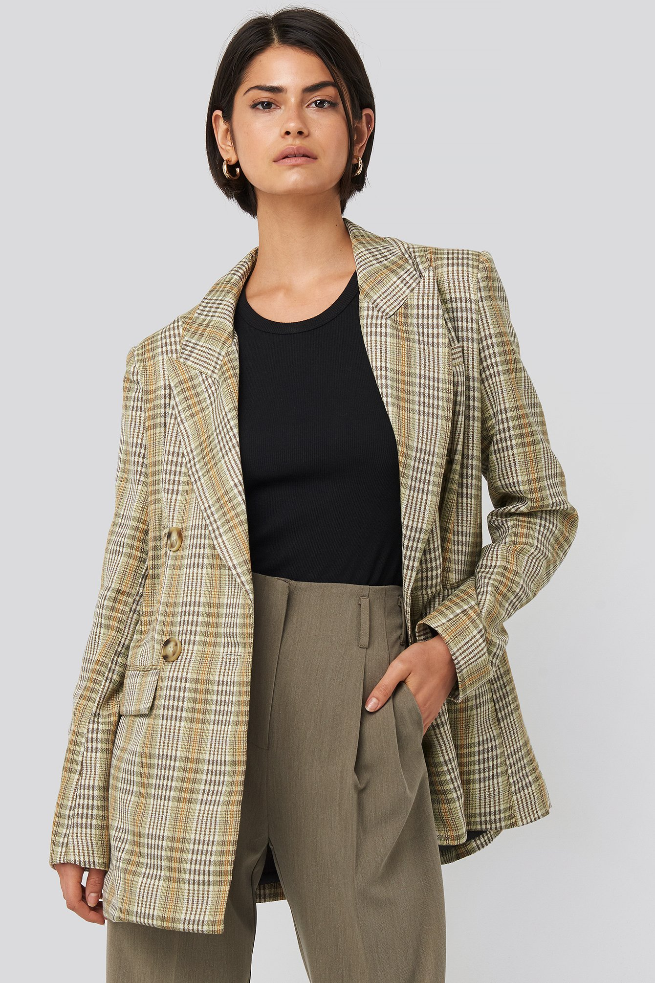 na-kd classic -  Plaid Double Breasted Oversized Blazer - Green