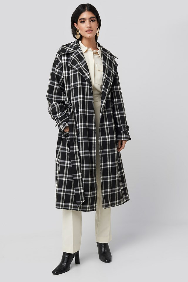 Plaid Oversized Belted Coat Black/White