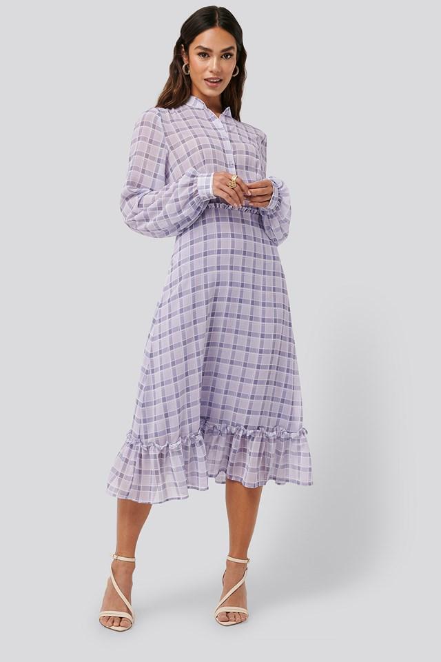 Plaid Sheer Midi Dress Check