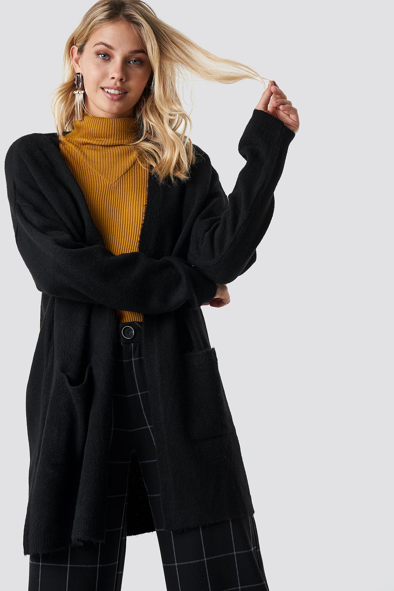 na-kd -  Plain Knitted Midi Cardigan - Black