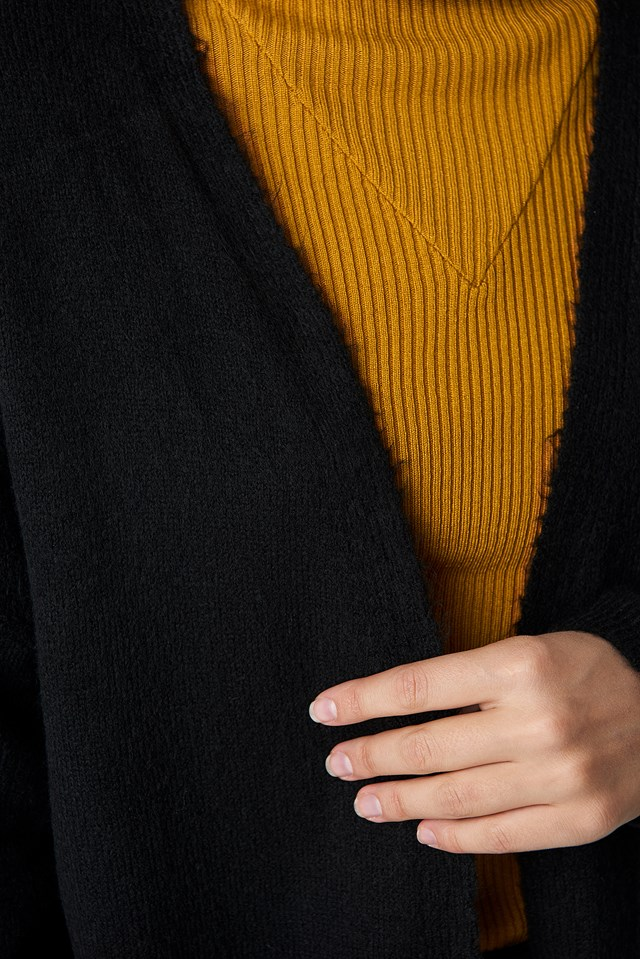 Plain Knitted Midi Cardigan Black