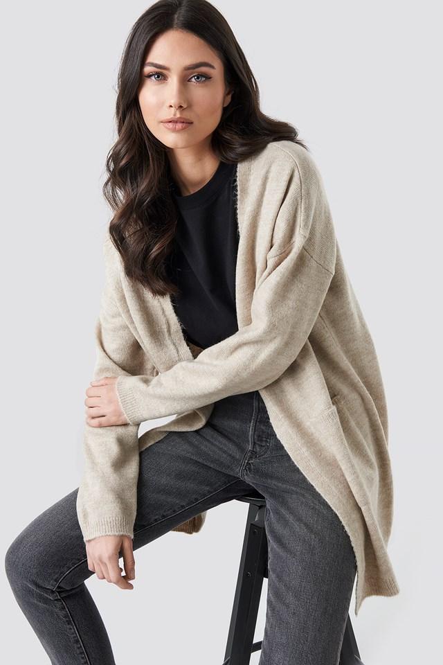 Plain Knitted Midi Cardigan Beige