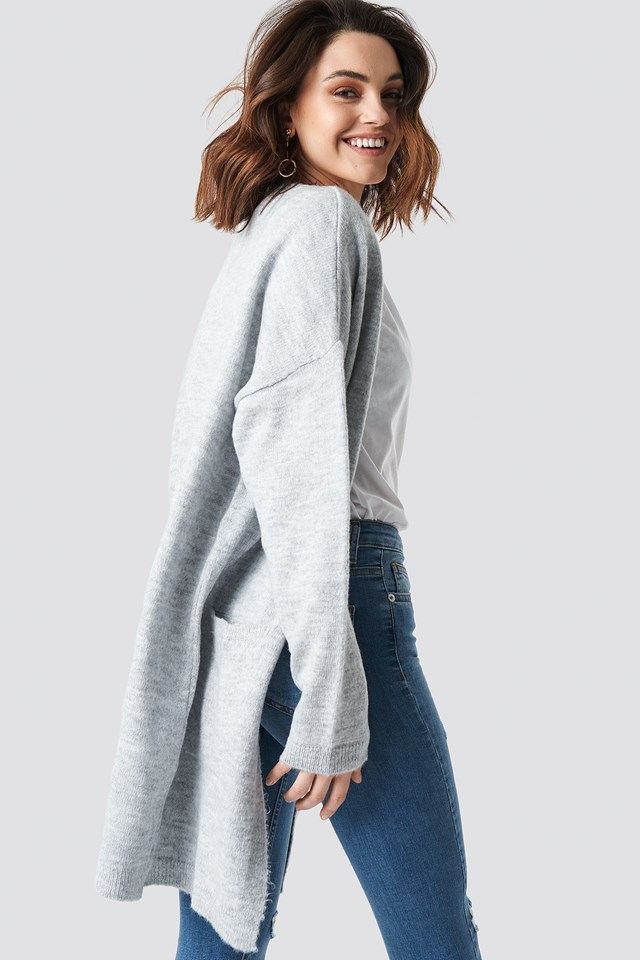 Plain Knitted Midi Cardigan Grey