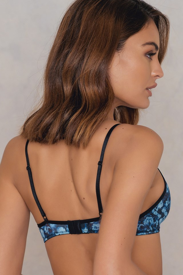 Plain Printed Mesh Bra Blue Flower