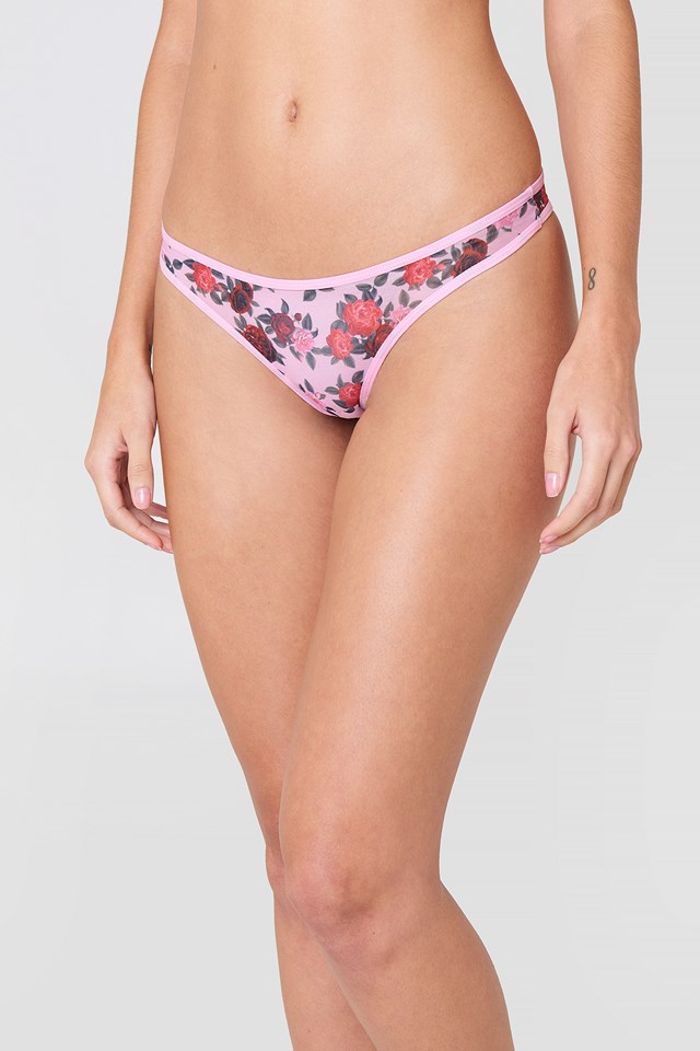 Plain Printed Mesh Briefs Pink Rose Print