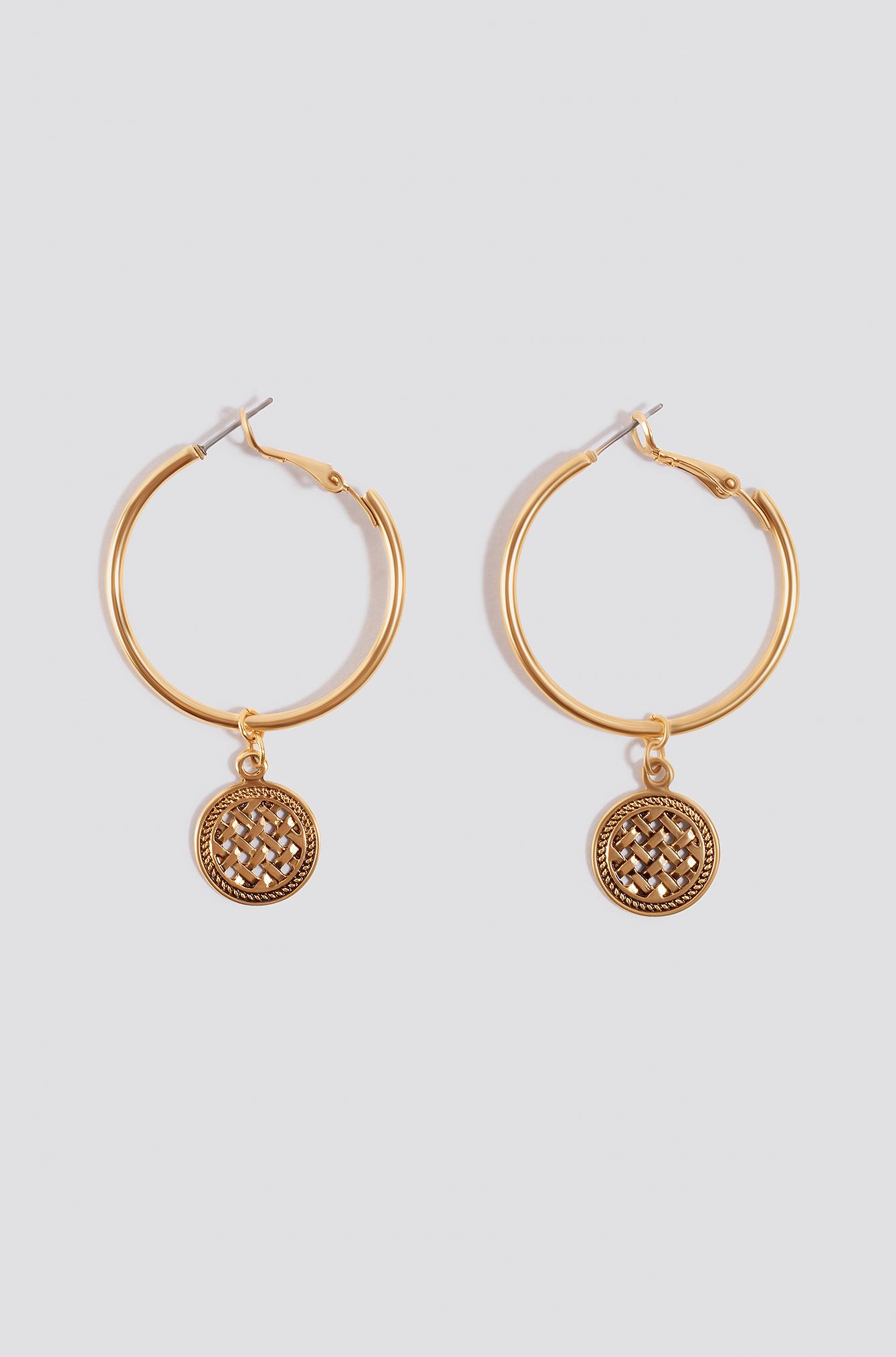 Plate Drop Hoop Earrings NA-KD.COM