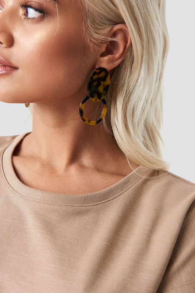 Plate Hoop Tortoise Earrings NA-KD Accessories