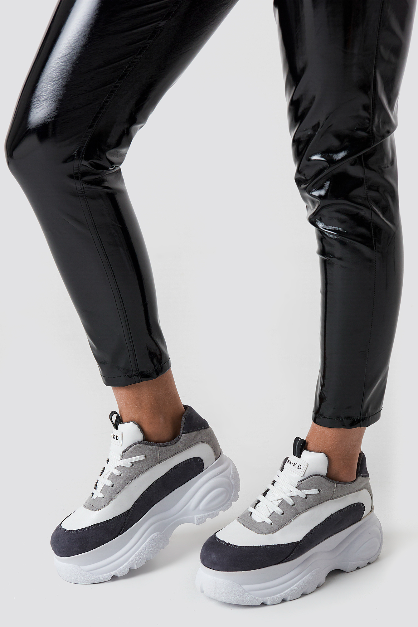 na-kd shoes -  Platform Chunky Trainers - White,Grey