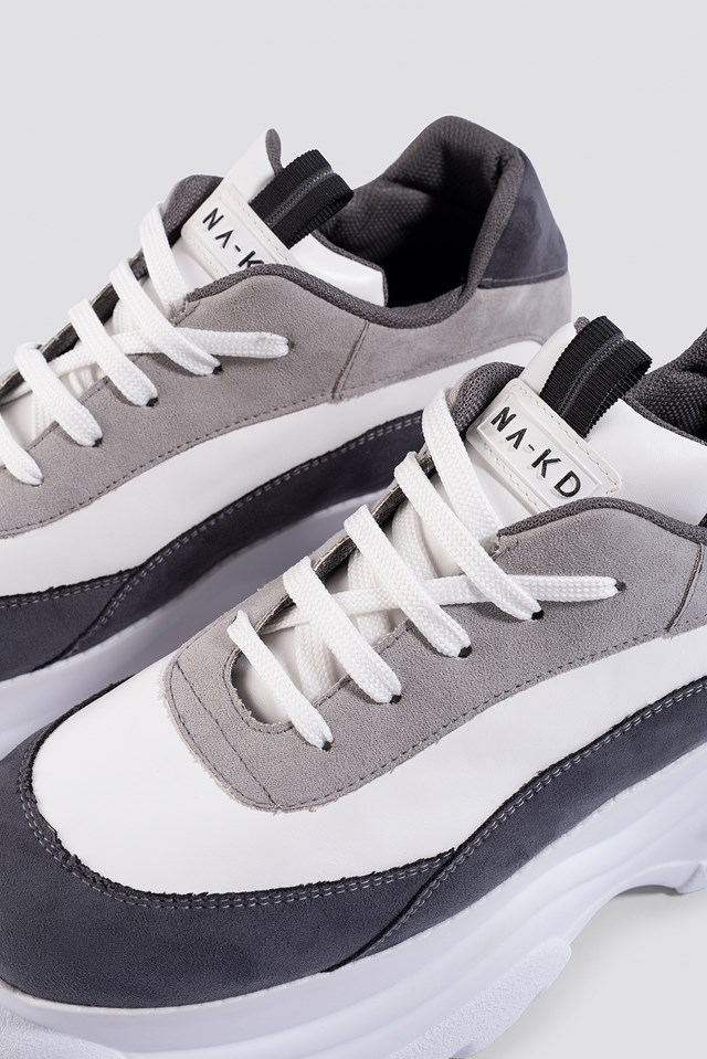 Platform Chunky Trainers White/Grey