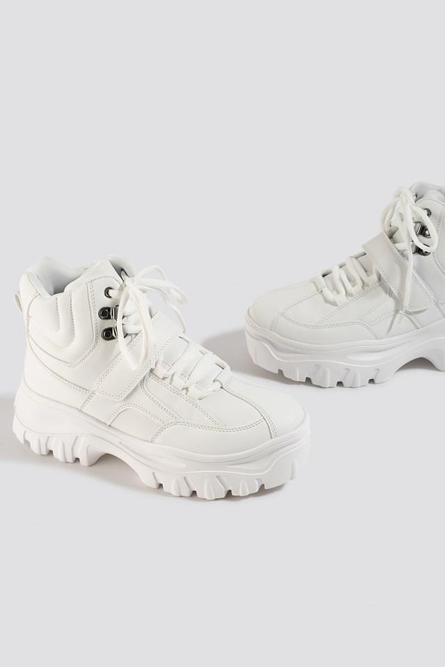 Platform Sneaker Boots White