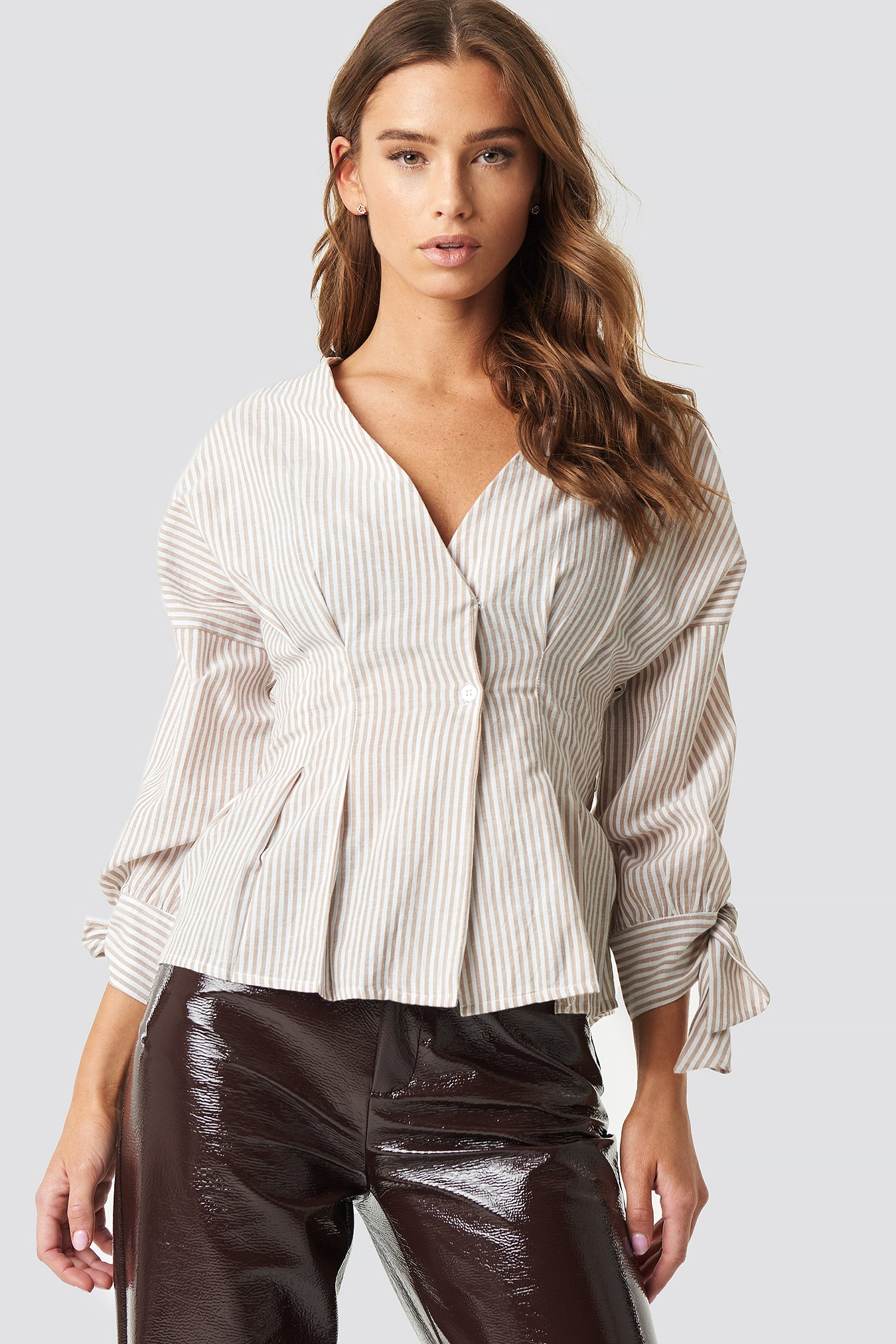 Pleat Detail Front Button Top NA-KD.COM