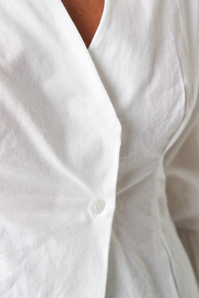 Pleat Detail Front Button Top White