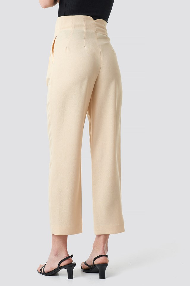 Pleat Detail High Waist Pants Beige