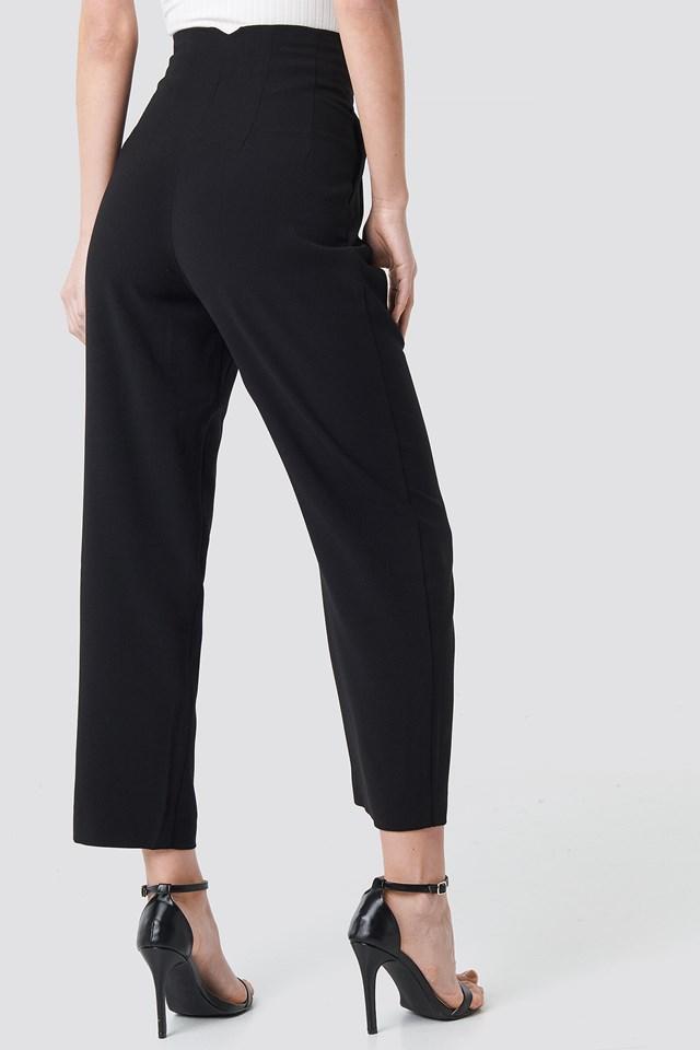 Pleat Detail High Waist Pants Black