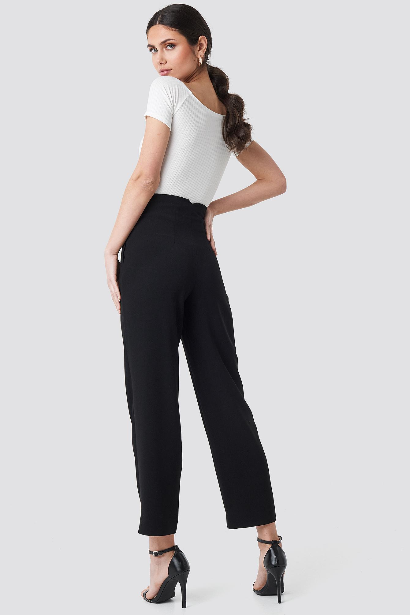 Pleat Detail High Waist Pants NA-KD.COM