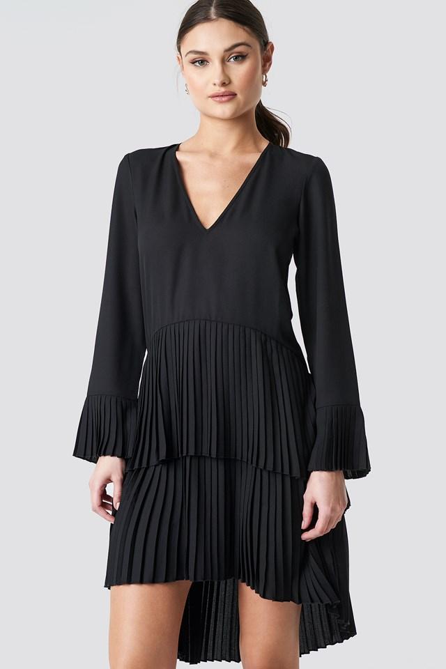 Pleat Detail Layered Mini Dress Black