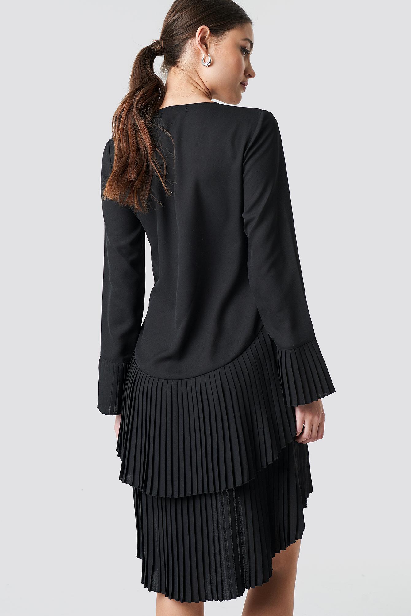 Pleat Detail Layered Mini Dress NA-KD.COM