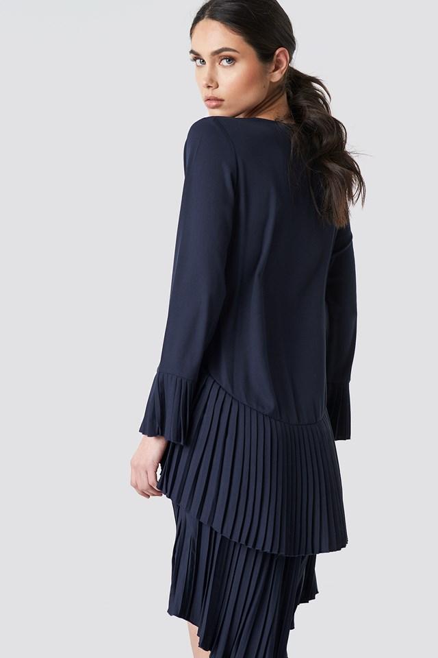 Pleat Detail Layered Mini Dress Dark Blue