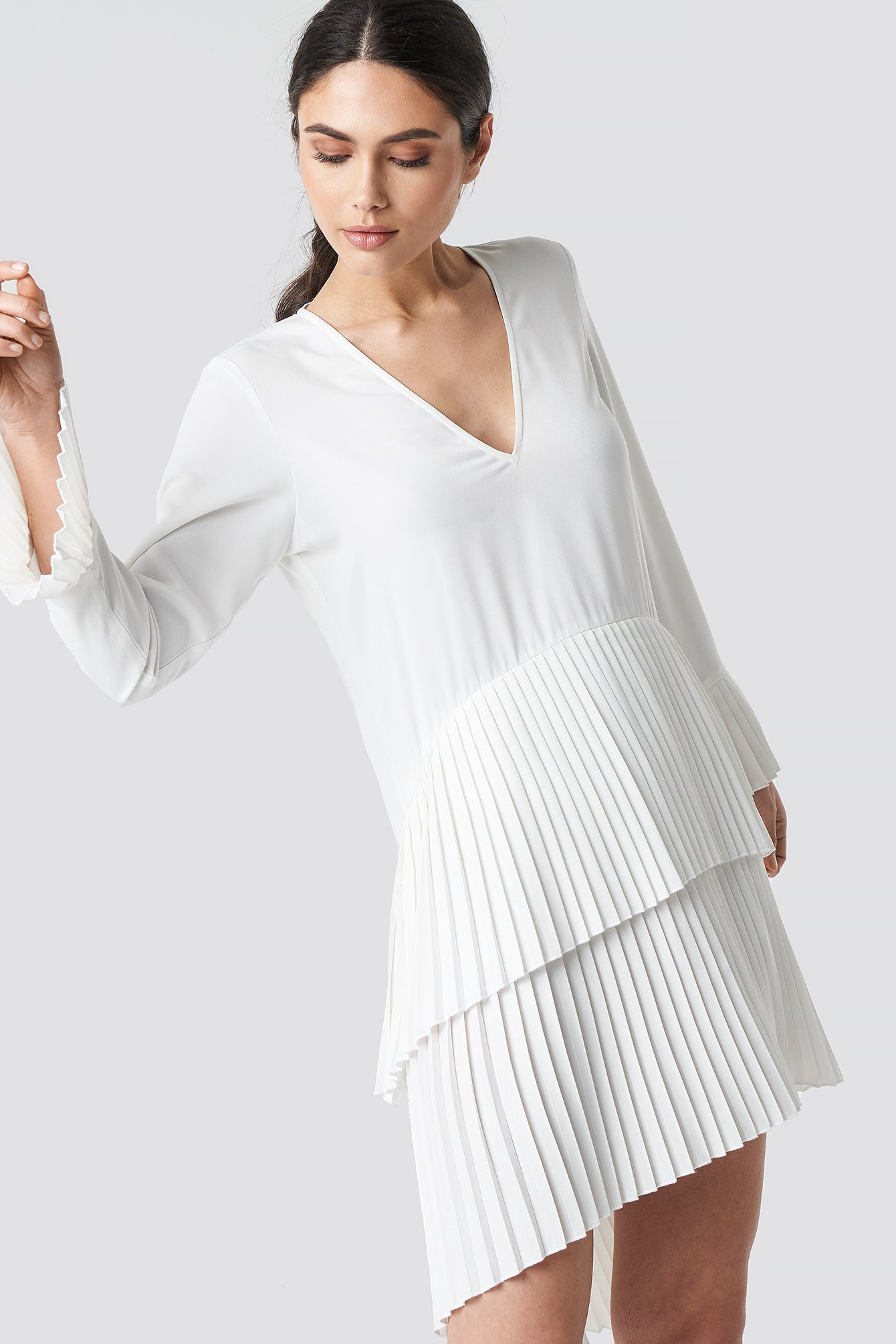 na-kd party -  Pleat Detail Layered Mini Dress - White