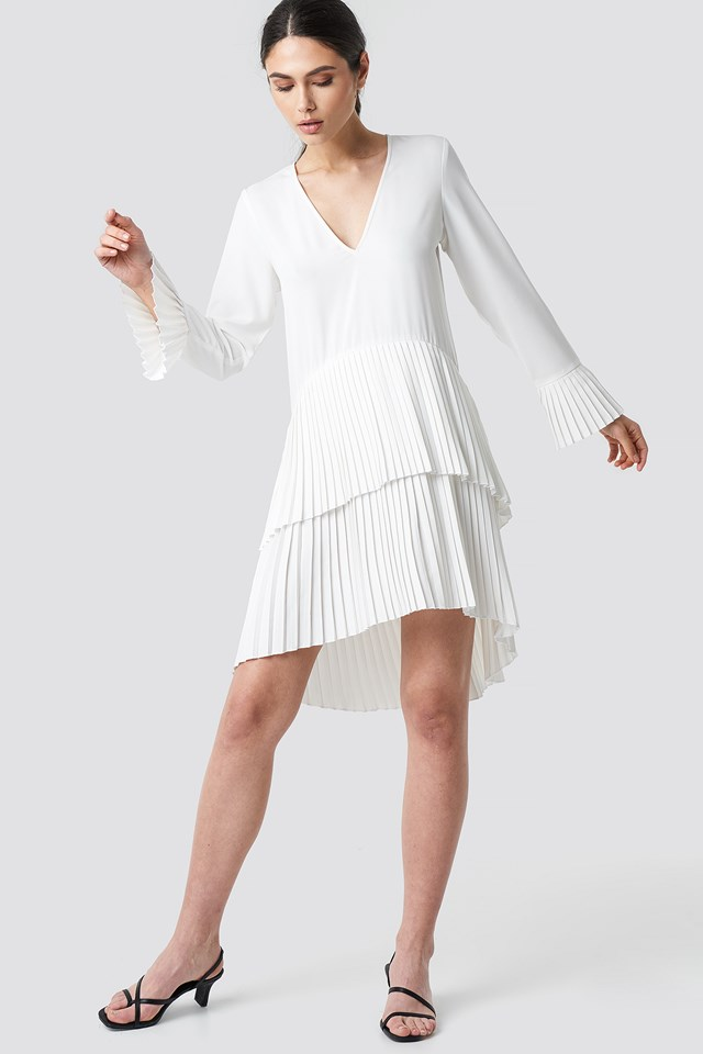 Pleat Detail Layered Mini Dress White