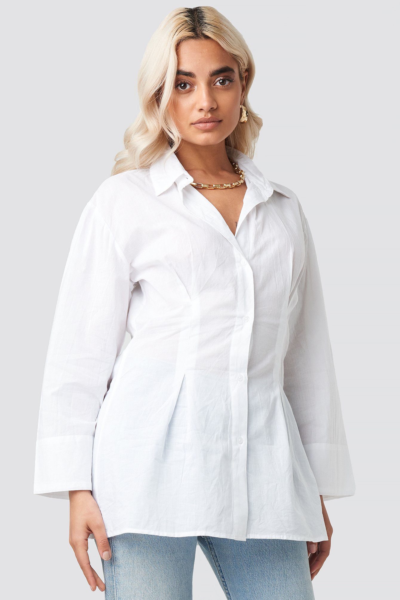 Pleat Detail Oversized Shirt NA-KD.COM