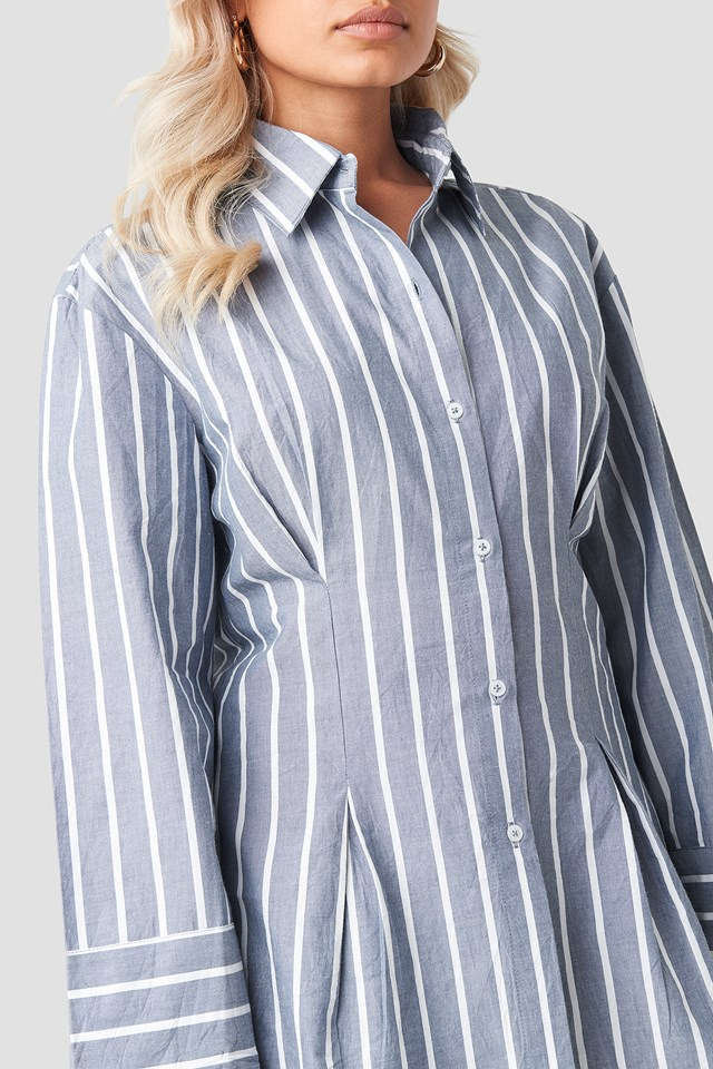 Pleat Detail Oversized Shirt Stripe