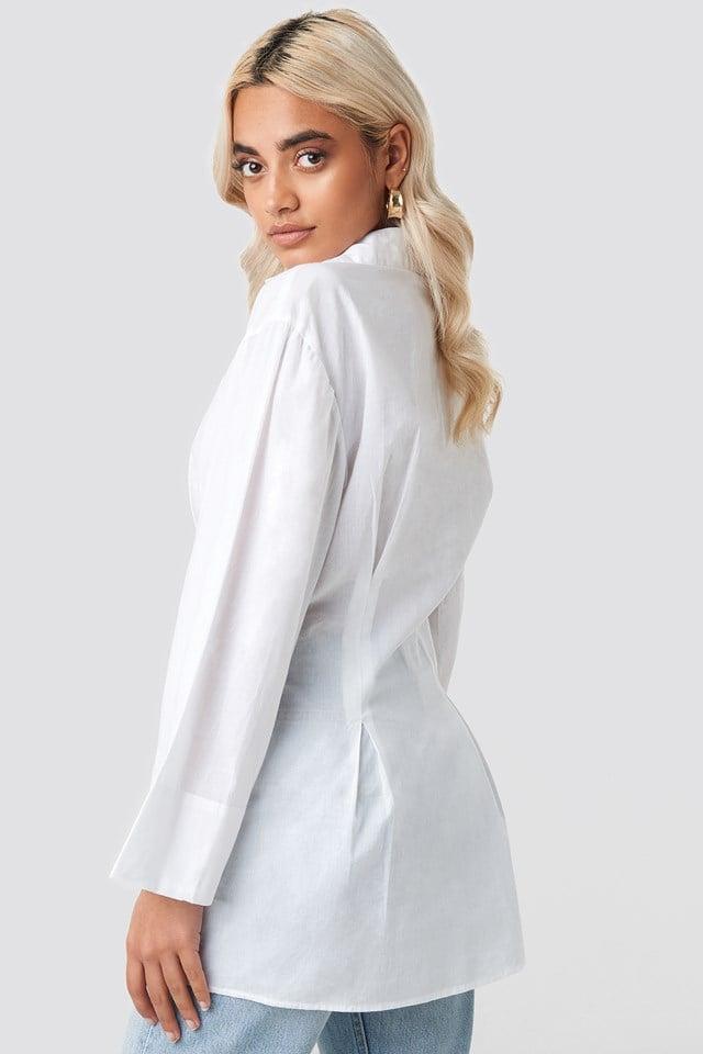 Pleat Detail Oversized Shirt White