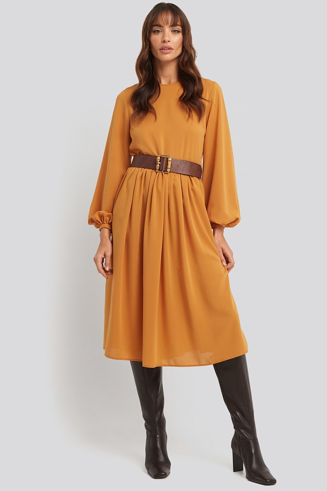 Pleat Skirt Chiffon Dress Rust