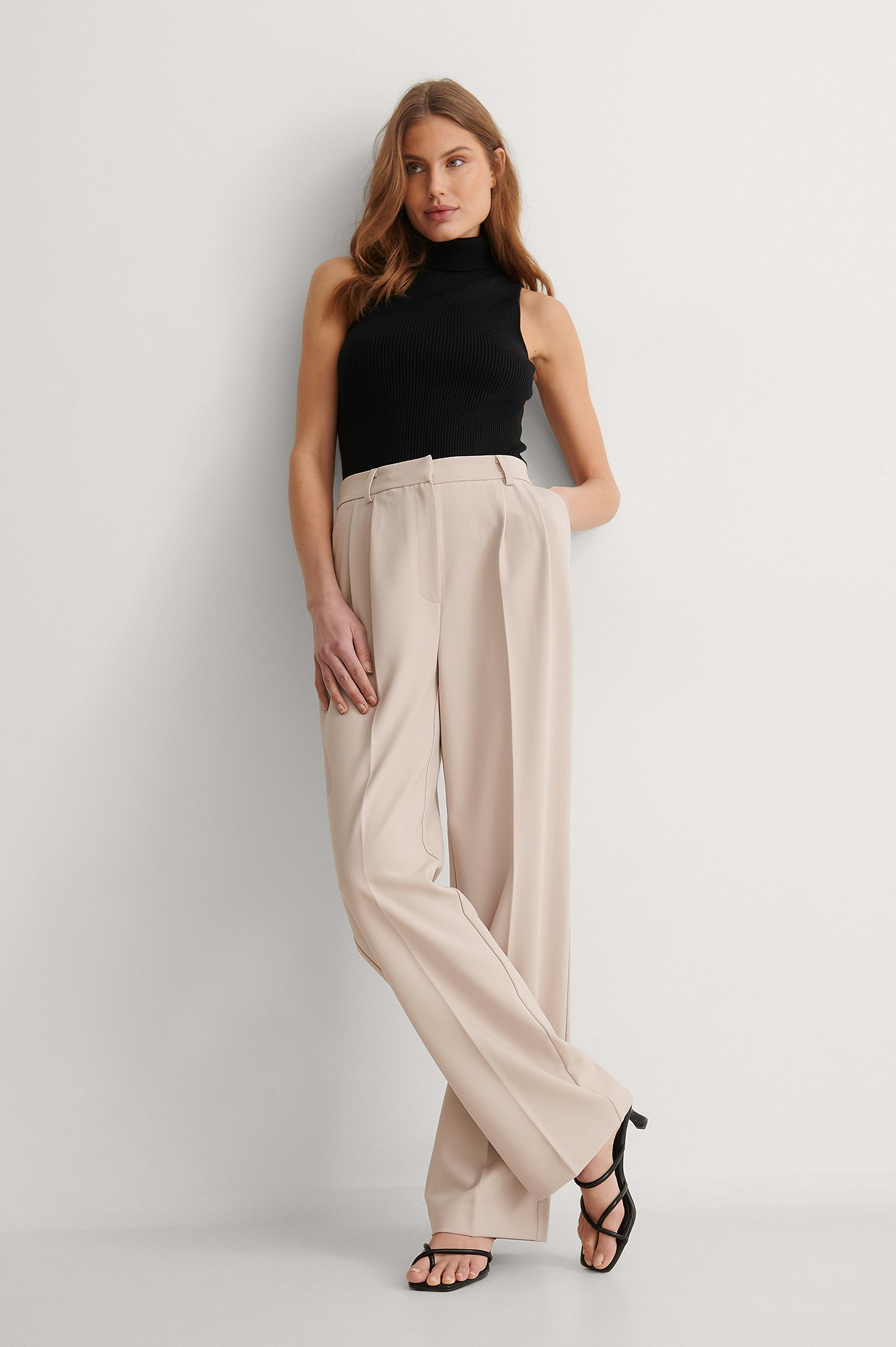 Taupe Pleat Suit Pants