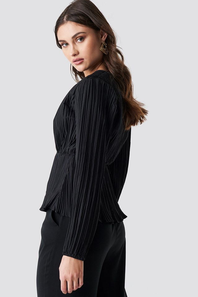 Pleated V-Neck Balloon Sleeve Top Black
