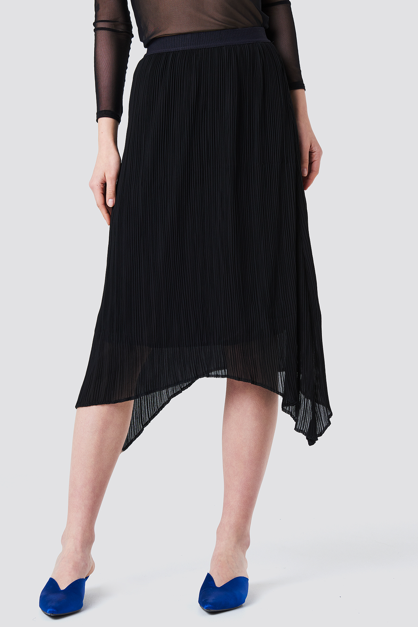 Pleated Asymmetric Hem Skirt NA-KD.COM
