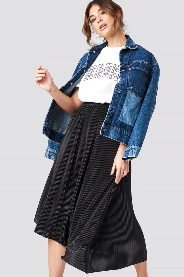 Plisowana asymetryczna spódnica midi Black