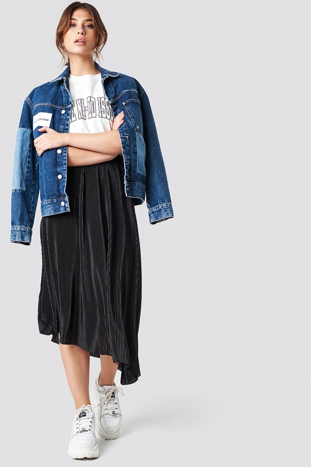 Pleated Asymmetric Midi Skirt Black