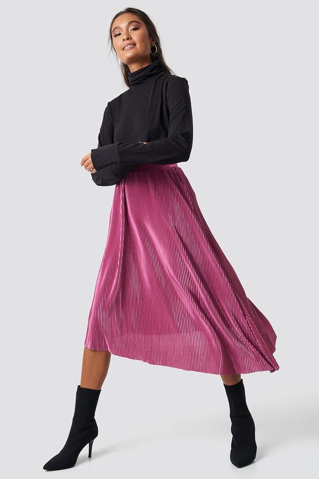 Pleated Asymmetric Midi Skirt Purple Rose