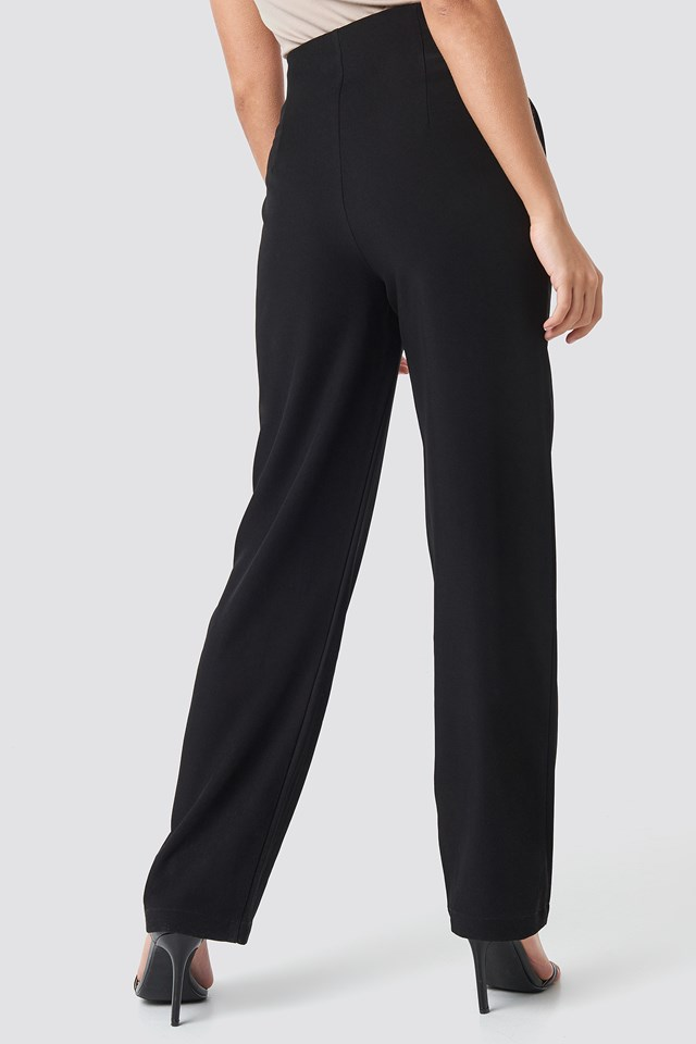 Pleated Buttoned Suit Pants Black