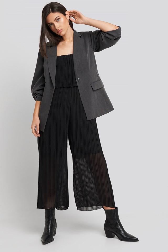 Pleated Cami Jumpsuit Black
