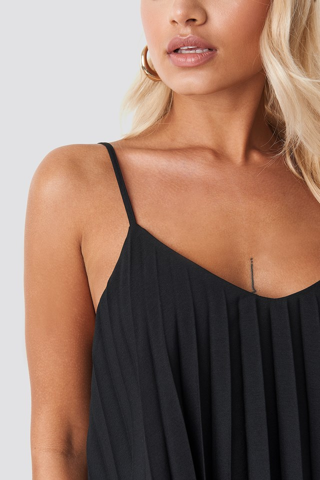 Pleated Cami Top Black