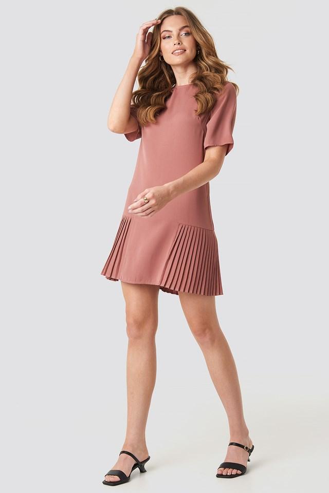 Pleated Detail Mini Dress Dusty Pink