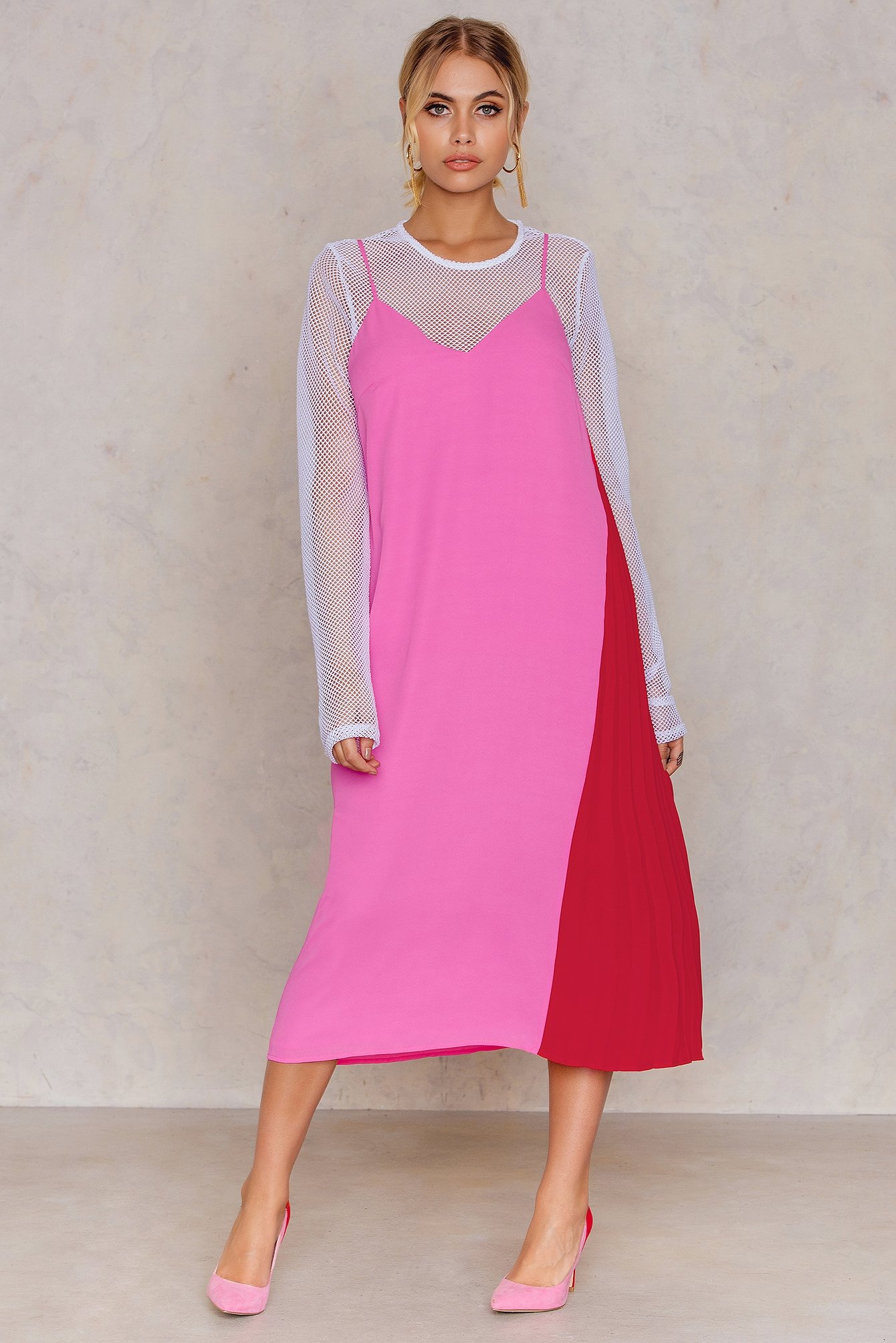 Pink Pleated Detail Slip Dress