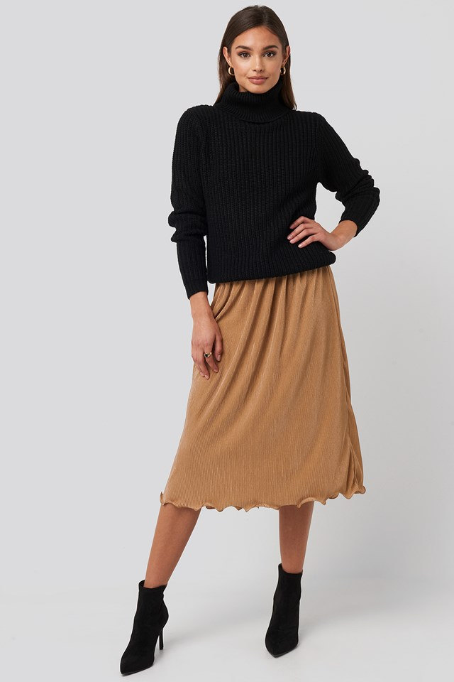 Pleated Detailed Hem Skirt Beige