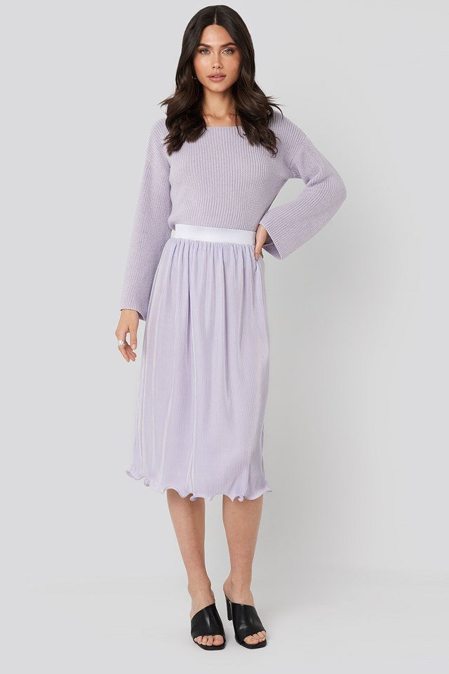 Pleated Detailed Hem Skirt Light Purple
