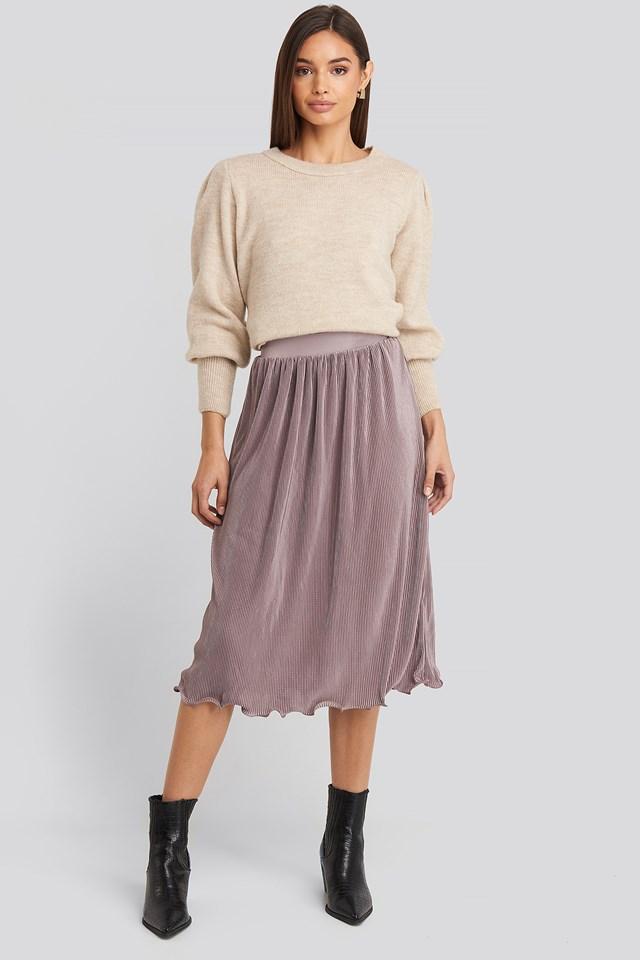 Pleated Detailed Hem Skirt Dusty Purple