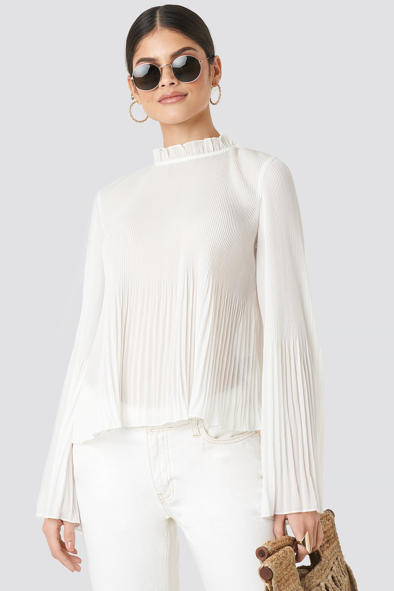 Pleated Flare Cuff Blouse NA-KD.COM
