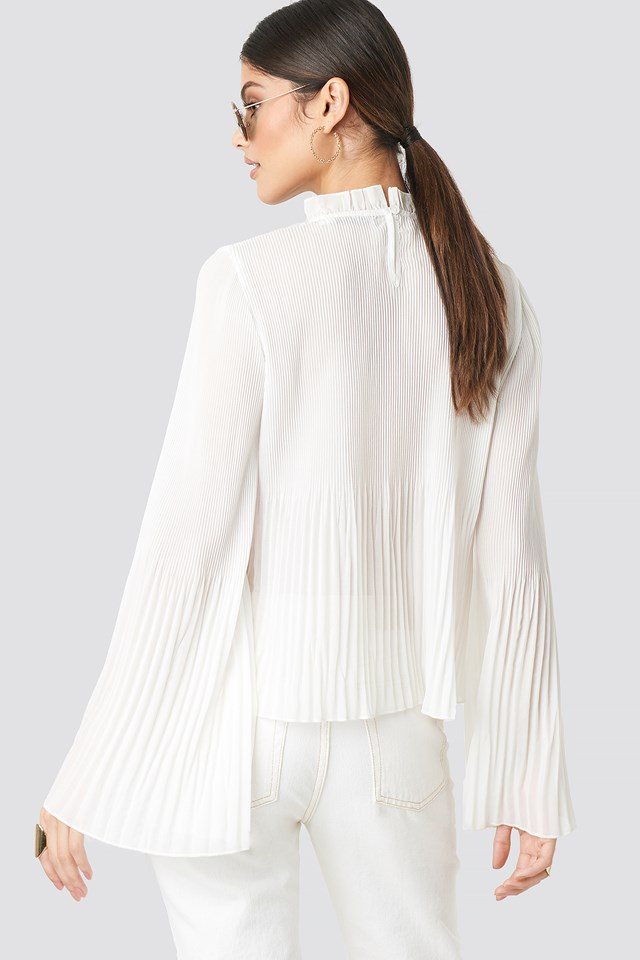 Pleated Flare Cuff Blouse White