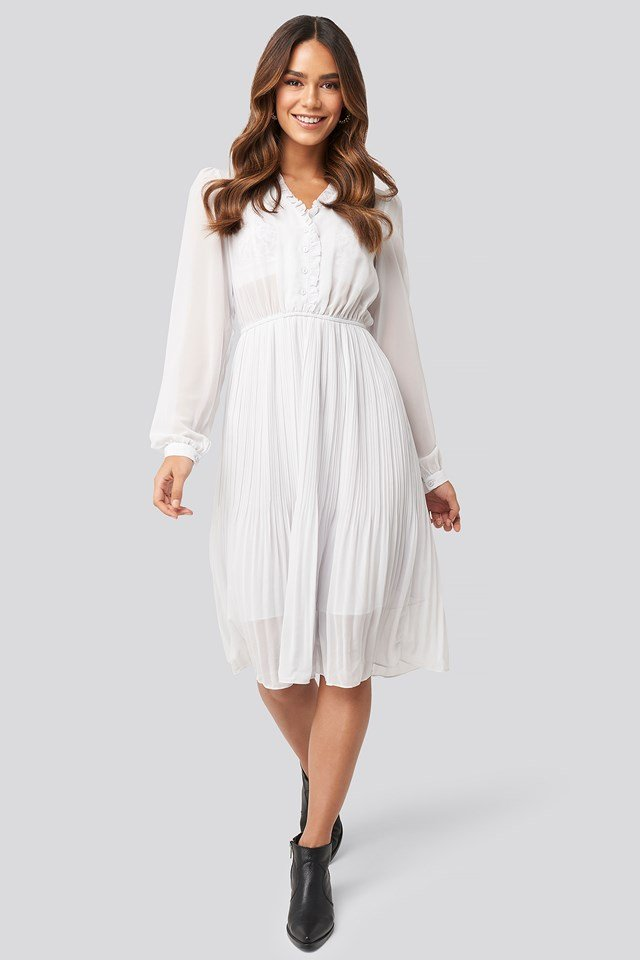 Pleated Flowy Button Up Dress Light Grey