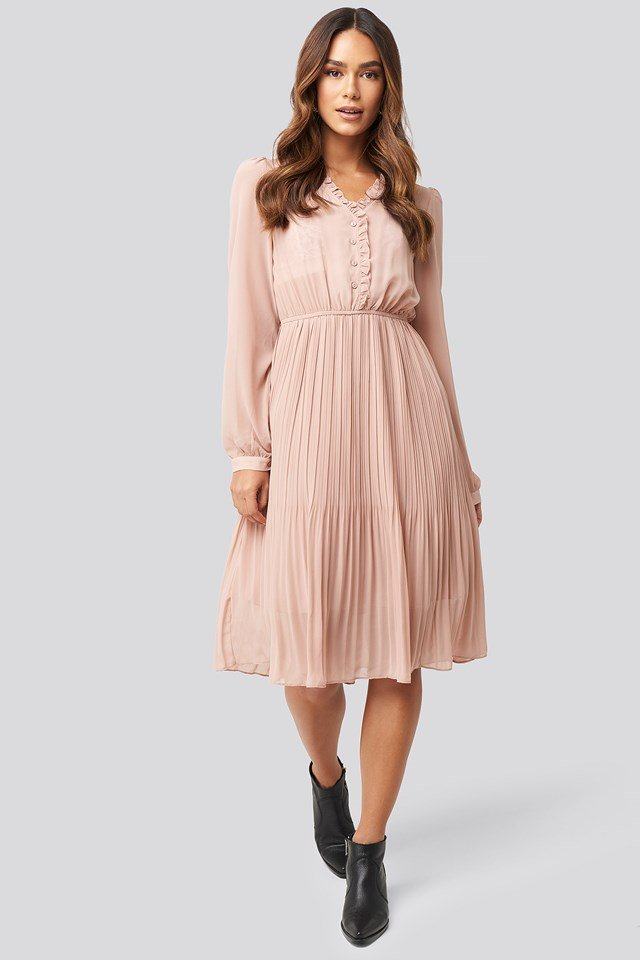 Pleated Flowy Button Up Dress Dusty Pink