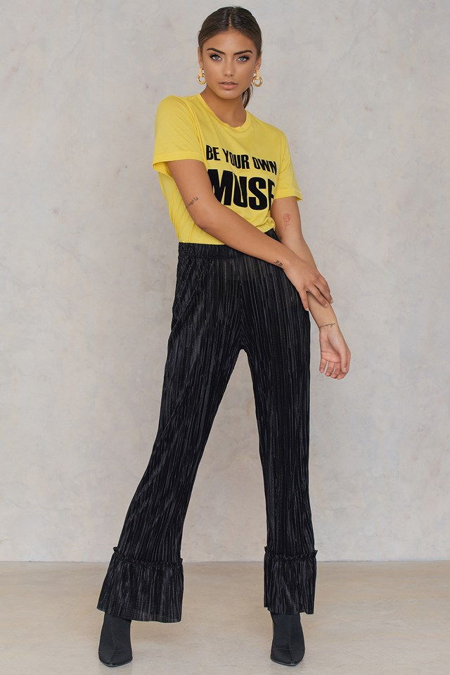 Pleated Frill Pants Black
