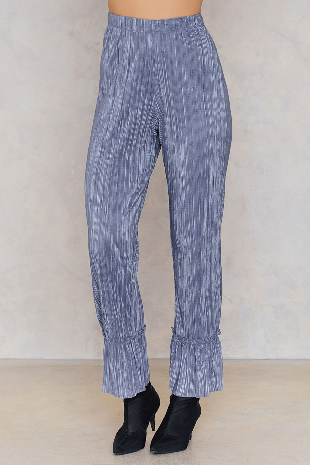 Pleated Frill Pants Blue